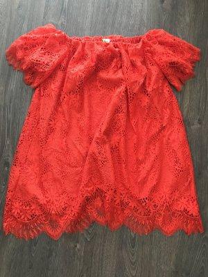 Kleid Spitzenlook mit Carmenausschnitt in rot / H&M Größe 36