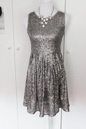 Kleid Statement Pailetten Silber Hingucker Abiball Süß S