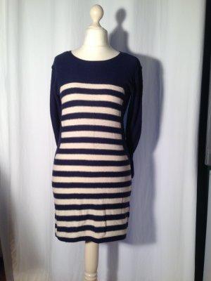 Kleid Strickkleid Hippie Langarm Rundhalsausschnitt Streifen Blau Creme Gr. S