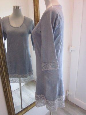 Kleid Taupe Blau Gr S mit Spitzenbund