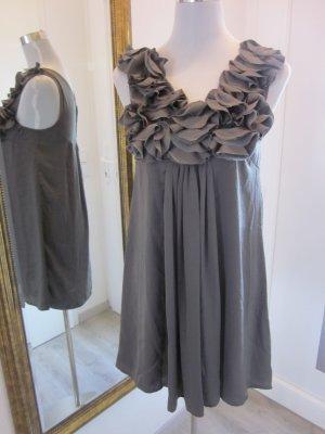 Kleid Taupe Grau Kurz Gr 36 mit Applikation