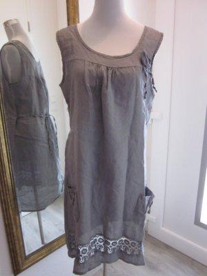 Midi Dress silver-colored-grey violet cotton