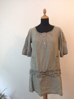 Kleid Tokio mini Volants RüschenTunika Perlmutt Knöpfe Dreiviertel Arm meliert melange grünoliv beigesand grau