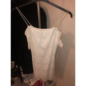 Kleid Topshop weiß schulterfrei mit Spitze