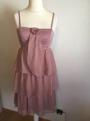 Kleid Trägerkleid Abendkleid Volant süß nude rose Gr. S