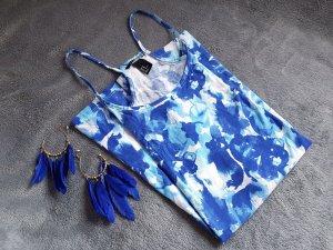 Kleid Trägerkleid Sommer Blau gemustert Türkis H&M Gr. S