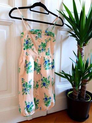 Kleid Trägerlos Blumen Knopfleiste