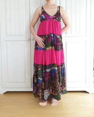 Kleid True Vintage Oversize XS XXS 32 34 blau grün rosa braun Sommerkleid Sommer weiß Blumen dress