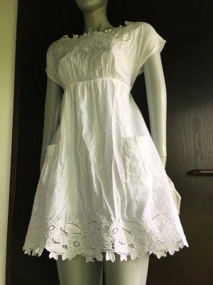 Kleid Tunika babydoll häkelspitze Lochstickerei weiß zara Asos