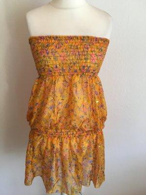 Kleid Tunika Bluse Longbluse Bandeau gelb gold Blumenprint Sommer