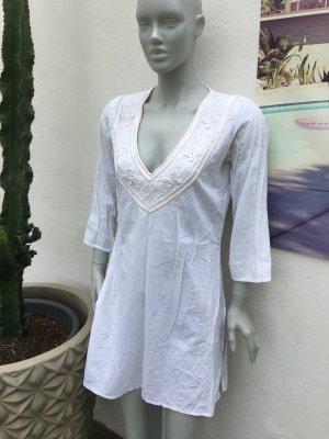 Zara Robe tunique blanc-blanc cassé