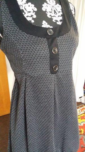 Vestido de manga corta negro-blanco tejido mezclado