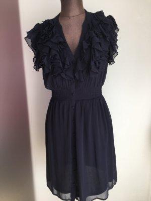 Kleid Tunika Mit Rüschen Volant Gr 40 M von H&M blau