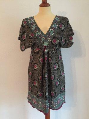 Kleid Tunika Uttam London Gr. S / 36 Minikleid Schwarz Grün Purpur Petrol