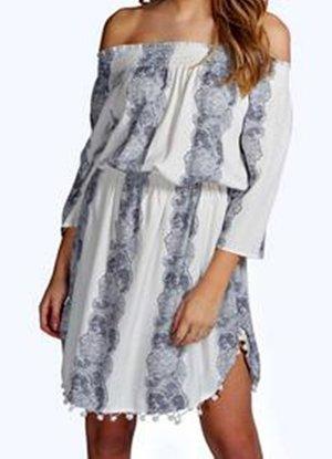 Kleid Tunika weiss blau Ethno Gr M/L Neu Pom Pom Dress
