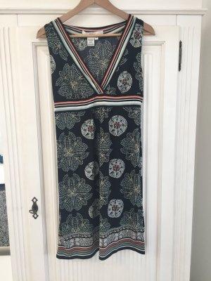 Kleid V-Ausschnitt schwarz bunt Muster