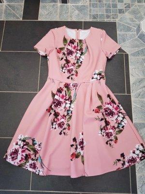 Kleid Vila Gr. L (40) Skaterrock rosa mit Blumen casual Büro Bügelfrei Reisverschluss
