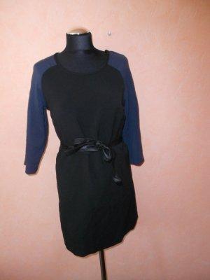 Kleid Vila schwarz blau Ledergürtel Gr. M
