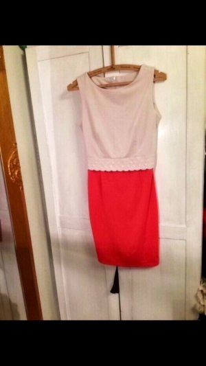 Kleid Vintage rosa Creme Muster süß 36