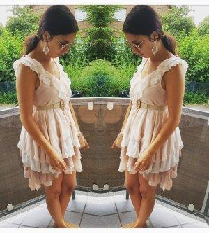 Kleid Volants rosa nude beige S blogger hipster boho