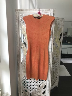 Alexander McQueen Robe stretch orange doré-orange clair soie