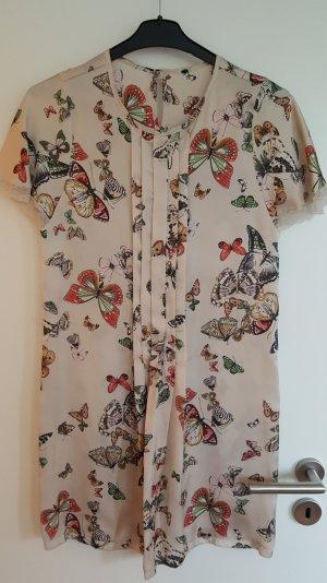 Kleid von Benetton, Tunika, Satin, Schmetterlings-Print mit Spitze, Gr. S