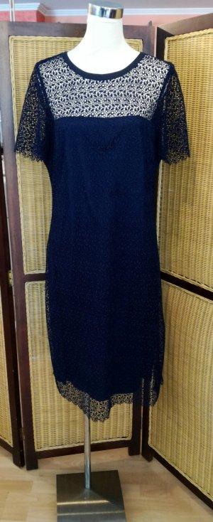Bianca Vestido de encaje azul tejido mezclado