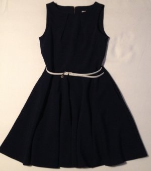 Kleid von Closet London in blau ärmellos mit Gürtel Größe 12 (Größe 38)