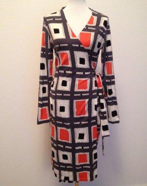 Diane von Furstenberg Robe portefeuille argenté-saumon coton