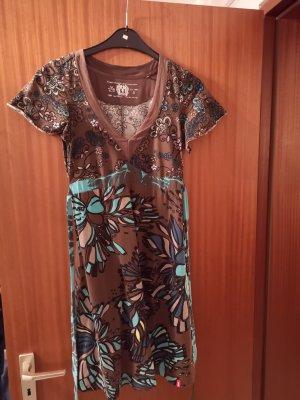 Kleid von Esprit Braun türkis Blumen Gr. S
