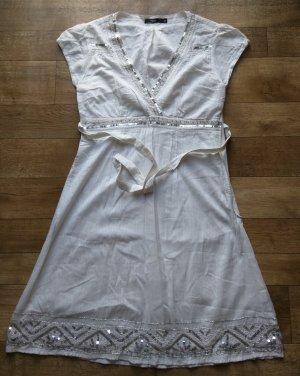 Kleid von Fransa mit Pailletten, reine Baumwolle Creme