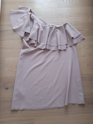 Mango One Shoulder Dress dusky pink