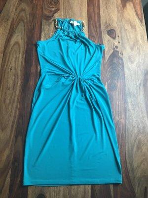 Kleid von Michael Kors Aqua grün mit goldfarbener Kette