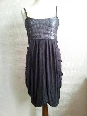 Kleid von Only in M (38/40), Dunkelgrau / Anthrazit, Raffungen & Pailletten