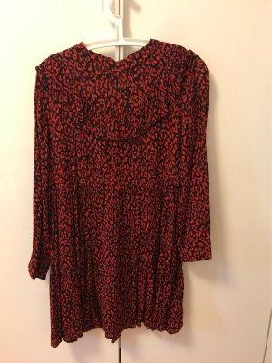 Zara Woman Abito blusa nero-rosso