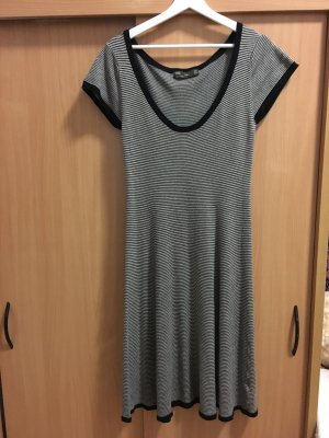 Zara Vestido de manga corta negro-marrón grisáceo