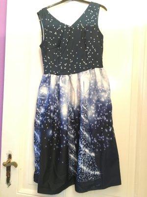 Vestido de manga corta blanco-azul oscuro