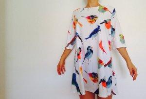 Kleid  weiß bunt Vögel SheInside 34
