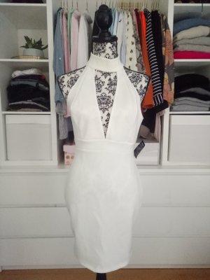 Kleid Weiß Cocktailkleid Hochzeit V- Ausschnitt Bodycon M L 38