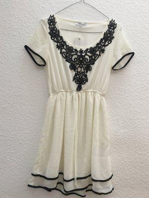 Kleid weiß Creme schwarz Spitze Elegant Gr. 34 XS / S Neu mit Etikett