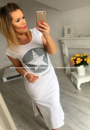 Kleid weiß/grau lang bodenlang Maxikleid Stern Star BLING BLING Sommerkleid S-L