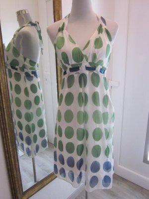 Kleid Weiss Grün gepunktet Neckholder #50ties  Gr 38