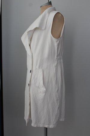 Kleid weiß Mango Gr. L 40 Leinen Viskose retro Kittelkleid Minikleid Sommerkleid