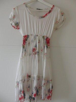 Kleid weiß mit Rosenmuster
