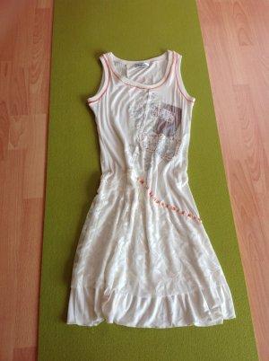 Kleid weiß mit roter u silberfarbenen Applikationen