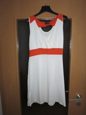 Kleid weiß orange