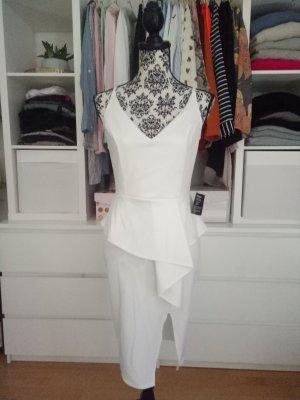 Kleid Weiß Partykleid Schößchen Business Cocktailkleid M 38 Hochzeit Blogger
