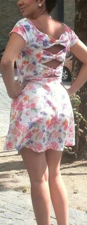 Kleid weiß S Schleifen nude rosa Blogger vintage boho Lace Spitze