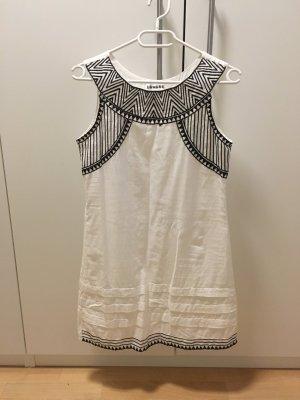 Kleid weiß/schwarz Stickerei Sommerkleid Baumwolle NEU