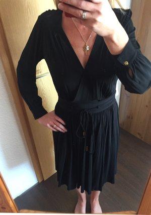 Whistles Vestido de manga larga negro-color oro